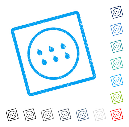 Drops rubber watermark in some color versions.. Vector pictogram symbol inside rounded rectangle with grunge design and unclean texture. Stamp seal illustration, unclean emblem.