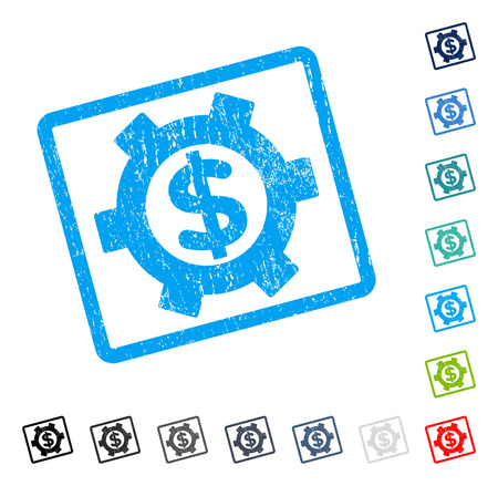 version: Financial Settings rubber watermark in different color version, vector pictogram symbol inside rounded rectangle with grunge design and dust texture. Illustration