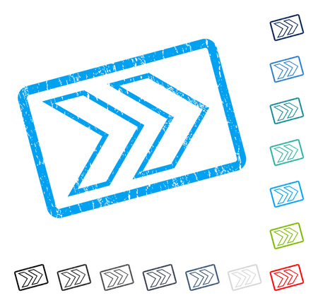 shift: Shift Right rubber watermark in some color versions.. Vector pictogram symbol inside rounded rectangle with grunge design and unclean texture. Stamp seal illustration, unclean sticker.