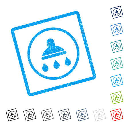 Shower rubber watermark in some color versions.. Vector icon symbol inside rounded rectangular frame with grunge design and dust texture. Stamp seal illustration, unclean sign. Vectores