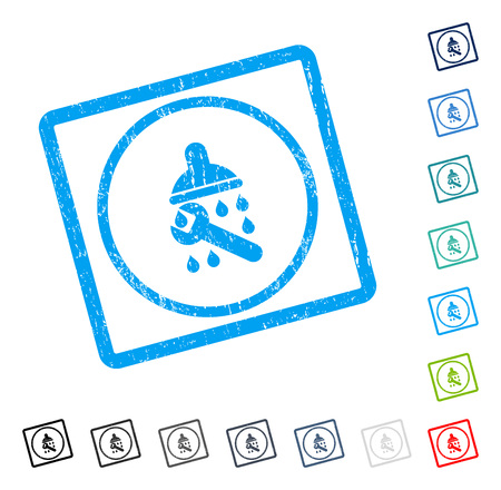 Shower Plumbing rubber watermark in some color versions.. Vector pictogram symbol inside rounded rectangular frame with grunge design and unclean texture. Stamp seal illustration, unclean emblem. Vectores