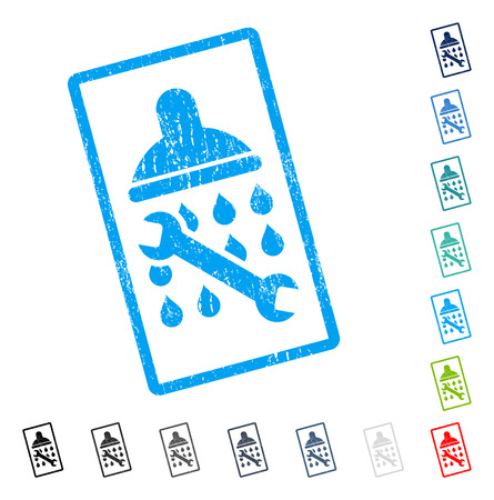 setup: Shower Plumbing rubber watermark in some color versions.. Vector icon symbol inside rounded rectangular frame with grunge design and dirty texture. Stamp seal illustration, unclean sign.