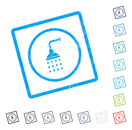 Shower rubber watermark in some color versions.. Vector pictogram symbol inside rounded rectangular frame with grunge design and dirty texture. Stamp seal illustration, unclean sticker.