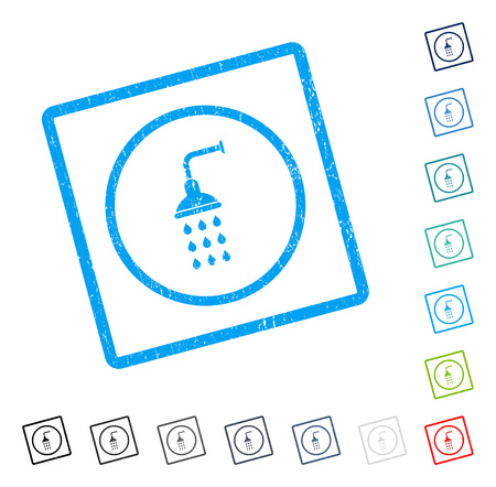 Shower rubber watermark in some color versions.. Vector pictogram symbol inside rounded rectangular frame with grunge design and dust texture. Stamp seal illustration, unclean emblem.