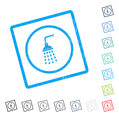 Shower rubber watermark in some color versions.. Vector icon symbol inside rounded rectangular frame with grunge design and dust texture. Stamp seal illustration, unclean sticker. Vectores