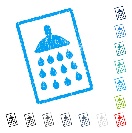 Shower rubber watermark in some color versions.. Vector icon symbol inside rounded rectangle with grunge design and dirty texture. Stamp seal illustration, unclean sticker.