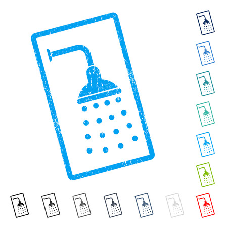 Shower rubber watermark in some color versions.. Vector icon symbol inside rounded rectangular frame with grunge design and unclean texture. Stamp seal illustration, unclean sign.