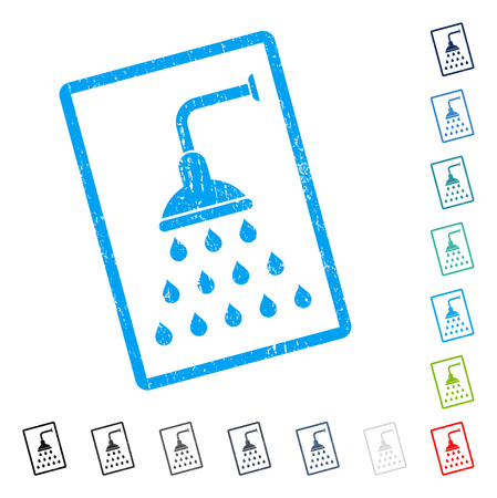 Shower rubber watermark in some color versions.. Vector icon symbol inside rounded rectangular frame with grunge design and unclean texture. Stamp seal illustration, unclean emblem.
