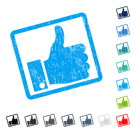 validation: Thumb Up rubber watermark in some color versions.. Vector icon symbol inside rounded rectangle with grunge design and scratched texture. Stamp seal illustration, unclean sign. Illustration