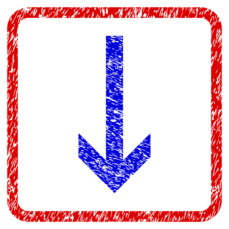 Arrow Down grunge textured icon. Rounded red frame with blue symbol with unclean texture. Blue and red colors. Corroded vector stamp with grainy design.