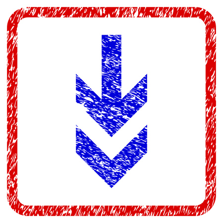 Arrow Down grunge textured icon. Rounded red frame with blue symbol with dust texture. Blue and red colors. Corroded vector stamp with grainy design. Designed for overlay watermark stamp imitations. Illustration