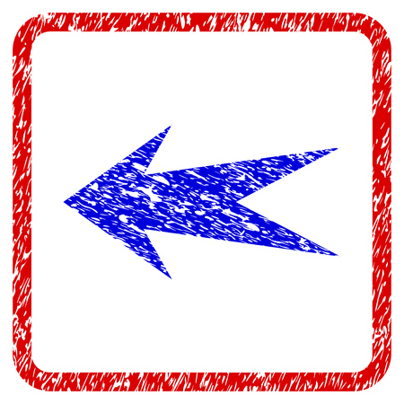 Arrow Left grunge textured icon. Rounded red frame with blue symbol with dirty texture. Blue and red colors. Corroded vector stamp with grainy design. Designed for overlay watermark stamp imitations.