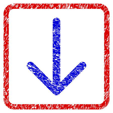Arrow Down grunge textured icon. Rounded red frame with blue symbol with scratched texture. Blue and red colors. Corroded vector stamp with grainy design.