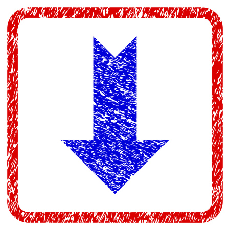 moving down: Arrow Down grunge textured icon. Rounded red frame with blue symbol with scratched texture. Blue and red colors. Corroded vector stamp with grainy design.