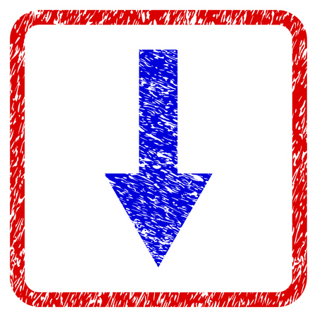 Arrow Down grunge textured icon. Rounded red frame with blue symbol with dirty texture. Blue and red colors. Corroded vector stamp with grainy design. Designed for overlay watermark stamp imitations.
