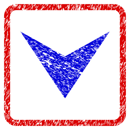 Blue downward  arrowhead grunge textured icon in rounded red frame