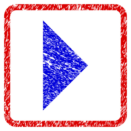 Blue right arrowhead grunge textured icon in rounded red frame