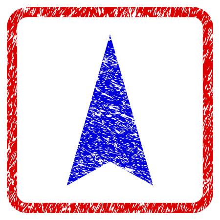 Icône texturé grunge flèche verticale vers le haut dans un cadre rouge arrondi