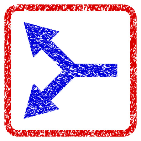 flèche double: Blue bifurcation left arrow grunge textured icon in rounded red frame
