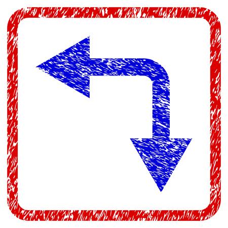 Icono con textura de flecha izquierda de bifurcación azul grunge en marco rojo redondeado