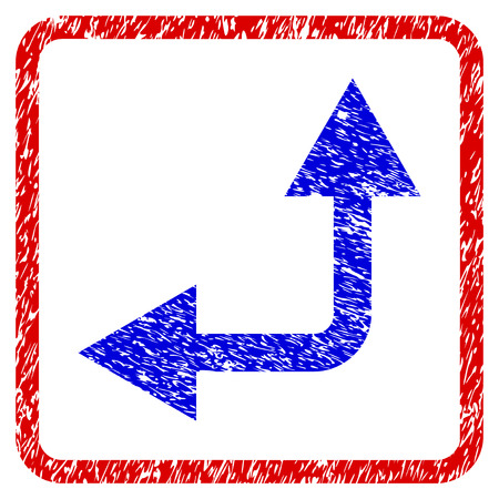 Blue bifurcation left-up arrow grunge textured icon in rounded red frame Illustration