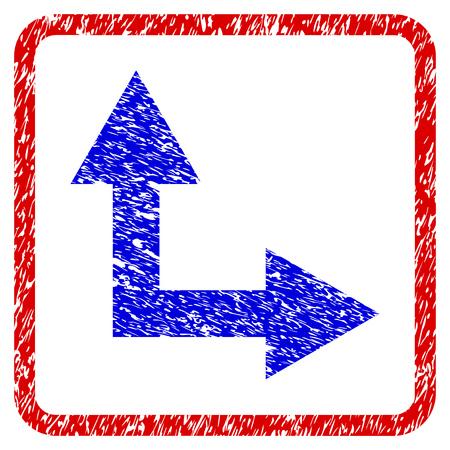 Flecha de bifurcación derecha arriba icono con textura grunge. Marco rojo redondeado con símbolo azul con textura de polvo. Colores azul y rojo Sello de vector corroído con diseño granulado. Vectores
