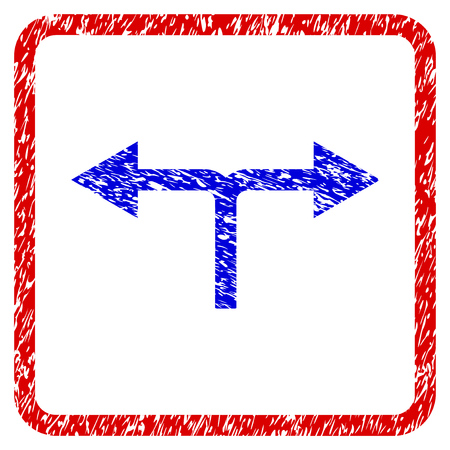 Bifurcation Arrows Left Right grunge textured icon. Rounded red frame with blue symbol with dirty texture. Blue and red colors. Corroded vector stamp with grainy design.