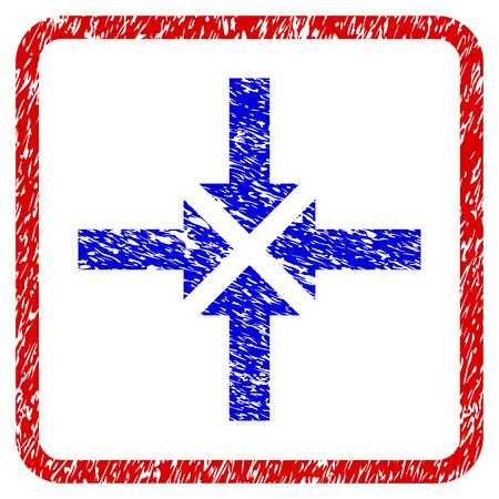 Compress Arrows grunge textured icon.
