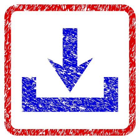 Downloads grunge textured icon. Rounded red frame with blue symbol with scratched texture. Blue and red colors. Corroded vector stamp with grainy design.
