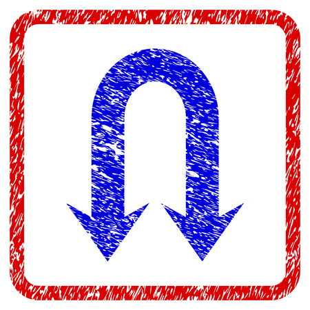 Double Back Arrow grunge textured icon. Rounded red frame with blue symbol with dirty texture. Blue and red colors. Corroded vector stamp with grainy design.