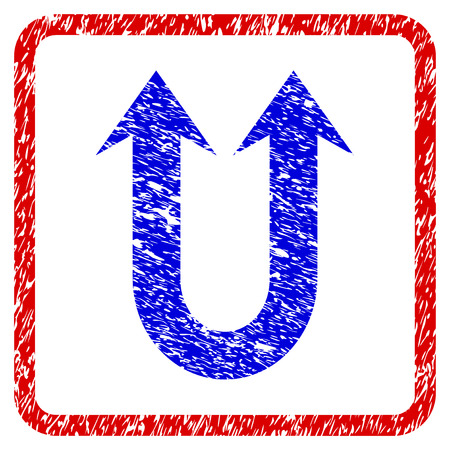 Double Forward Arrow grunge textured icon. Rounded red frame with blue symbol with unclean texture. Blue and red colors. Corroded vector stamp with grainy design.