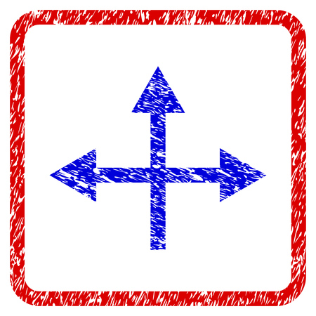 Intersection Directions grunge textured icon. Rounded red frame with blue symbol with scratched texture. Blue and red colors. Corroded vector stamp with grainy design. Illustration