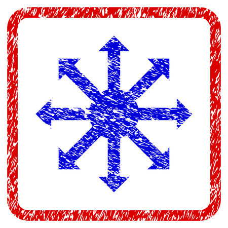 Radial Arrows grunge textured icon. Rounded red frame with blue symbol with dirty texture. Blue and red colors. Corroded vector stamp with grainy design.