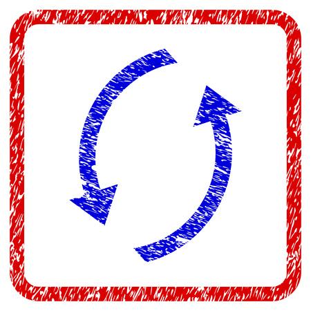 グランジテクスチャアイコンを更新します。ダーティなテクスチャを持つ青いシンボルが付いた丸みのある赤枠。青と赤の色。粗いデザインの腐食
