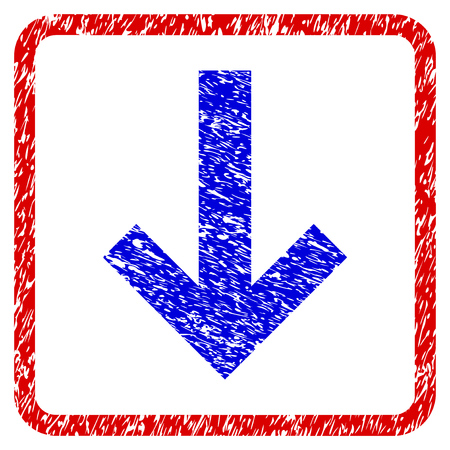 Arrow Down grunge textured icon. Rounded red frame with blue symbol with scratched texture. Blue and red colors. Corroded raster stamp with grainy design. Stock Photo