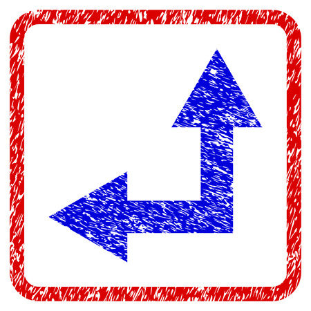Bifurcation Arrow Left Up grunge textured icon. Rounded red frame with blue symbol with dust texture. Blue and red colors. Corroded raster stamp with grainy design. Stock Photo