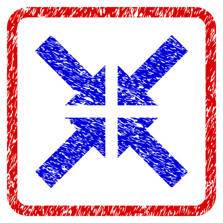 Pressure Arrows grunge textured icon. Rounded red frame with blue symbol with dust texture. Blue and red colors. Corroded raster stamp with grainy design.