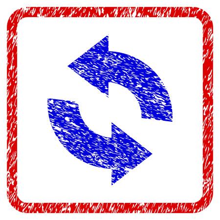 グランジ テクスチャ アイコンを更新します。ほこり質感とブルーのシンボルと赤枠を丸められます。青と赤の色。粒子の粗いデザインで腐食したラ
