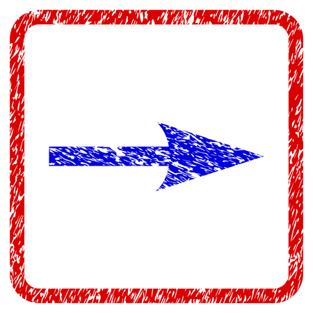 Sharp Arrow Right grunge textured icon. Rounded red frame with blue symbol with unclean texture. Blue and red colors. Corroded raster stamp with grainy design. Stock Photo