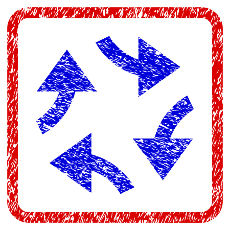 Swirl Arrows grunge textured icon. Rounded red frame with blue symbol with dirty texture. Blue and red colors. Corroded raster stamp with grainy design.