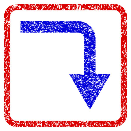 moving down: Turn Down grunge textured icon. Rounded red frame with blue symbol with unclean texture. Blue and red colors. Corroded raster stamp with grainy design. Designed for overlay watermark stamp imitations.