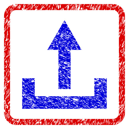 Upload grunge textured icon. Rounded red frame with blue symbol with scratched texture. Blue and red colors. Corroded raster stamp with grainy design. Designed for overlay watermark stamp imitations.