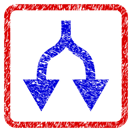 Split Arrows Down grunge textured icon. Rounded red frame with blue symbol with dirty texture. Blue and red colors. Corroded raster stamp with grainy design.