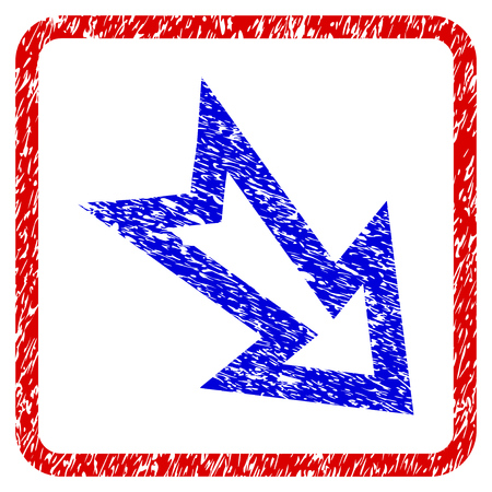 Arrow Right Down grunge textured icon. Rounded red frame with blue symbol with scratched texture. Blue and red colors. Corroded vector stamp with grainy design.