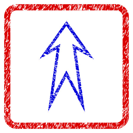 Arrow Up grunge textured icon. Rounded red frame with blue symbol with dust texture. Blue and red colors. Corroded vector stamp with grainy design. Designed for overlay watermark stamp imitations.