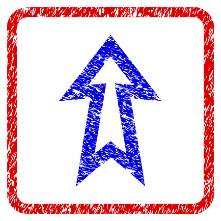 Arrow Up grunge textured icon. Rounded red frame with blue symbol with scratched texture. Blue and red colors. Corroded vector stamp with grainy design. Illustration