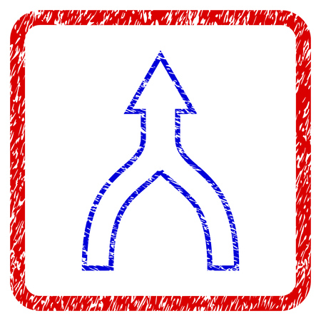 Connect Arrow Up grunge textured icon. Rounded red frame with blue symbol with scratched texture. Blue and red colors. Corroded vector stamp with grainy design.
