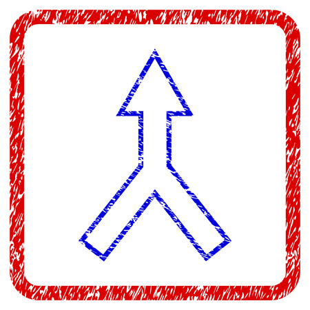 Connect Arrow Up grunge textured icon. Rounded red frame with blue symbol with unclean texture. Blue and red colors. Corroded vector stamp with grainy design.