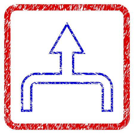 Connect Arrow Up grunge textured icon. Rounded red frame with blue symbol with dust texture. Blue and red colors. Corroded vector stamp with grainy design.