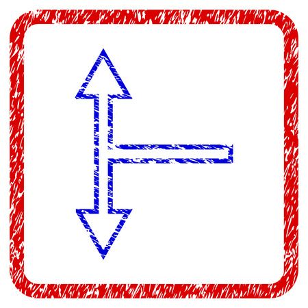 choosing: Bifurcation Arrow Up Down grunge textured icon. Rounded red frame with blue symbol with unclean texture. Blue and red colors. Corroded vector stamp with grainy design.